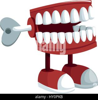 teeth practical joke icon over white background. april fools day concept. colorful design. vector illustration - Stock Photo