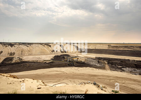 Bucket wheel excavator in a open pit coal mine. Coal mining in Cottbus, Germany. - Stock Photo