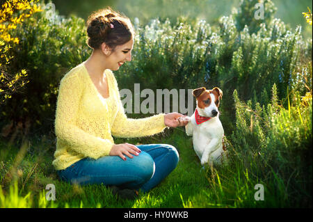 Young beautiful woman holds a hand over the pet dog's paw on a background of spring trees - Stock Photo
