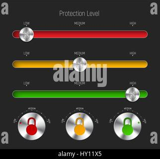 set of sliders and round buttons for different levels of protection. Templates for the interface or web site, applications - Stock Photo