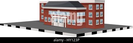 School building in 3D design illustration - Stock Photo