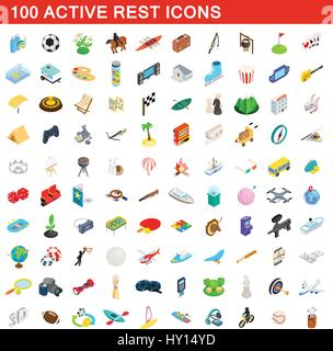 100 active rest icons set, isometric 3d style - Stock Photo