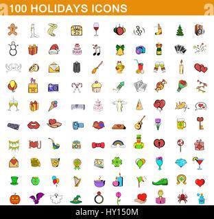 100 holidays icons set, cartoon style - Stock Photo