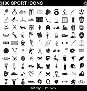 100 sport icons set, simple style - Stock Photo