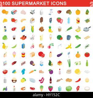 100 supermarket icons set, isometric 3d style - Stock Photo