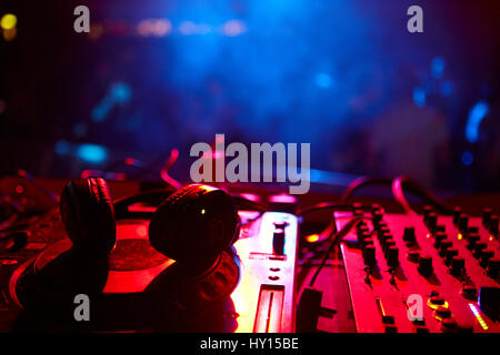 Dj booth decks and headphones, SWN Silent Disco Festival, Cardiff - Stock Photo
