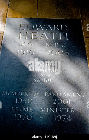 Grave with  memorial plaque for Edward Heath in Salisbury Cathedral in Wiltshire, UK. - Stock Photo