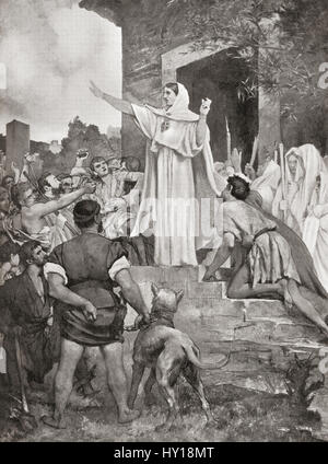 St. Genevieve calming the Parisians on the approach of Attila the Hun, 451AD.  From Hutchinson's History of the - Stock Photo