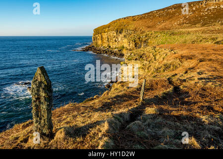 Old fence post on the coastal path on the west side of Dunnet Head, Caithness, Scotland, UK - Stock Photo