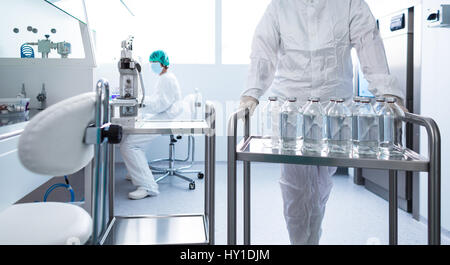Flasks with liquids in a lab - Pharmaceutical industry factory and production laboratory (color toned image; shallow - Stock Photo