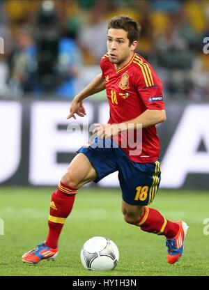 JORDI ALBA SPAIN FC BARCELONA SPAIN & FC BARCELONA OLYMPIC STADIUM KIEV UKRAINE 01 July 2012 - Stock Photo