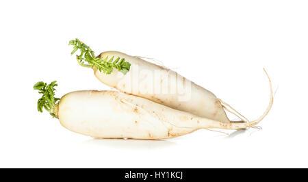 Raw Daikon radish isolated on white background - Stock Photo