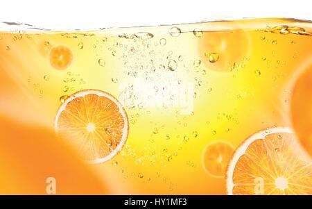 sliced oranges floating in juice, 3d illustration - Stock Photo