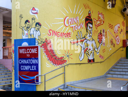 Wall mural graffiti art at the entrance to the Chinatown Complex ...