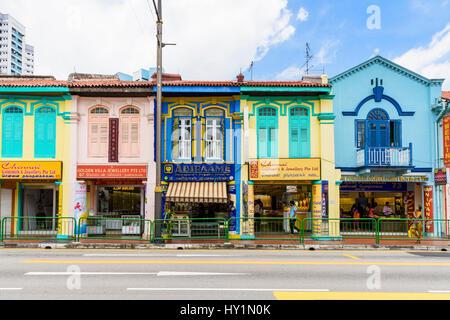 Colourful shophouses along Serangoon Rd, Little India, Singapore - Stock Photo