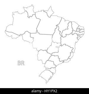Brazil Outline Silhouette Map Illustration Stock Vector Art - Brazil map illustration