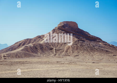Ancient Zoroastrian Tower of Silence, where the dead bodies was once exposed to the elements and local fowl in Yazd, - Stock Photo