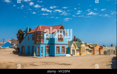Colorful houses in Luderitz, german style town in Namibia - Stock Photo
