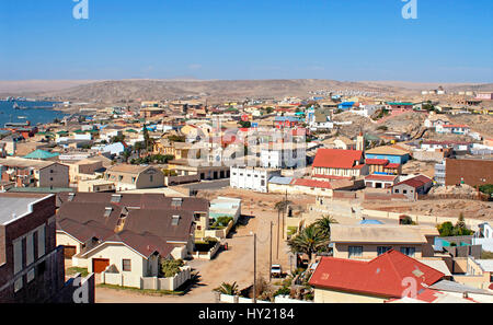 Image of the German heritage port town of Lüderitz in Namibia. - Stock Photo