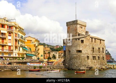 The Antico Castello di Rapallo in Liguria, North West Italy. It was build by Antonio Carabo 1551 on a small peninsula - Stock Photo