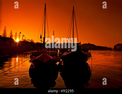 Rabelo boats on Douro river - Stock Photo