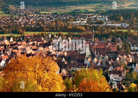 Colorful Autumn Landscape with view over the Hersbruck and the Hersbruck Mountains Nature Park in Bavaria, Germany. - Stock Photo