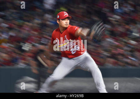 March 30, 2017: St. Louis Cardinals pitcher Seung-Hwan Oh delivers a pitch during the second inning of an exhibition game against the Memphis Redbirds at AutoZone Park in Memphis, TN. St. Louis won 9-3. Austin McAfee/CSM