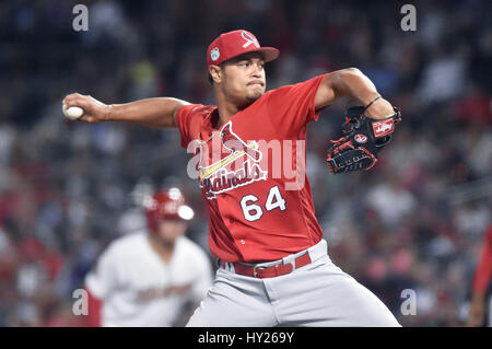 March 30, 2017: St. Louis Cardinals pitcher Sam Tuivailala delivers a pitch during the fourth inning of an exhibition - Stock Photo