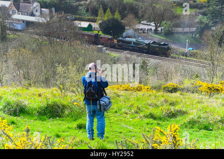 Corfe Castle, Dorset, UK. 31st Mar, 2017. The Swanage Railway hosting a steam gala over 3 days with Bulleid locomotives - Stock Photo