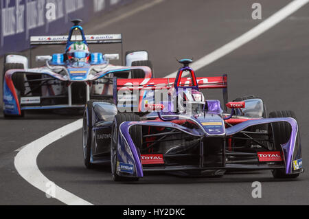 Mexico City, Mexico. 31st Mar, 2017. Argentinian Formula E pilot Jose Maria Lopez (front) from DS Virgin Racing - Stock Photo