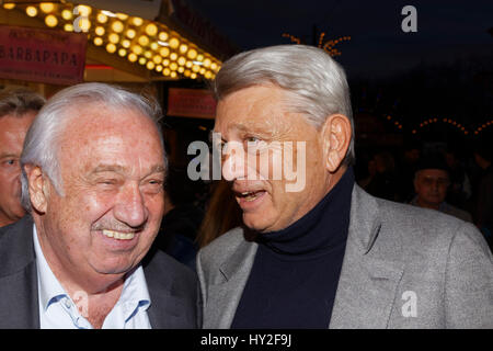 Paris, France. 31st March, 2017. Marcel Campion and Alain Madelin attend opening evening of the Throne Fair for - Stock Photo