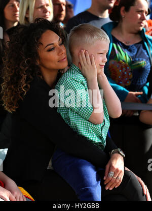 Guenzburg, Germany. 1st Apr, 2017. Lilly Becker and her seven-year-old son Amadeus, photographed at the opening - Stock Photo
