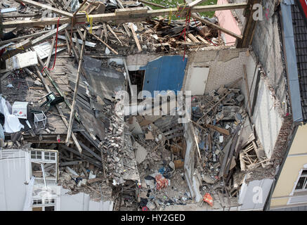 Dortmund, Germany. 1st Apr, 2017. View of the upper floors of an apartment building which were destroyed in an explosion - Stock Photo