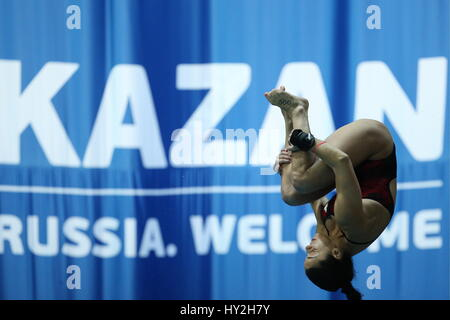 Kazan, Russia. 1st Apr, 2017. Canada's Meaghan Benfeito competes in the women's 10m platform final at the 2017 FINA/NVC - Stock Photo