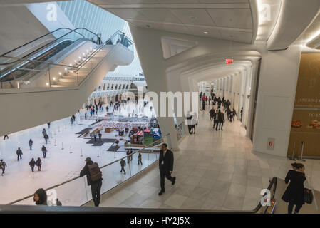New York, NY - Oculus transportation Hub at the World Trade Center, completed in 2016, serves 250,000 Port Authority - Stock Photo