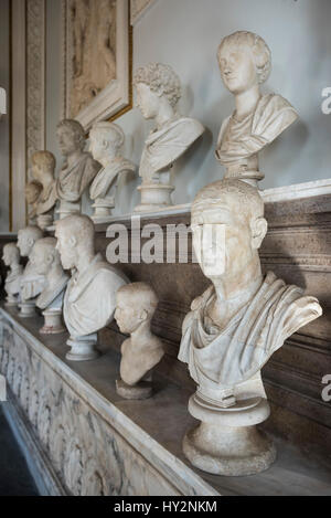 Rome. Italy. Hall of the Emperors, Capitoline Museums. Sala degli Imperatori, Musei Capitolini. Foregound; Portrait - Stock Photo