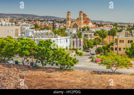 View of the town of Paphos in Cyprus.  Paphos is known as the center of ancient history and culture of the island. - Stock Photo