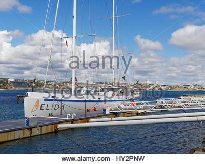Elida V yacht moored at Cascais marina, Portugal - Stock Photo