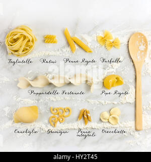 Different varieties of pasta with their names - Stock Photo