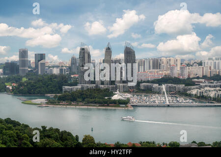 Aerial view of caribbean at keppel bay in Singapore . It's luxury residential in Singapore City - Stock Photo