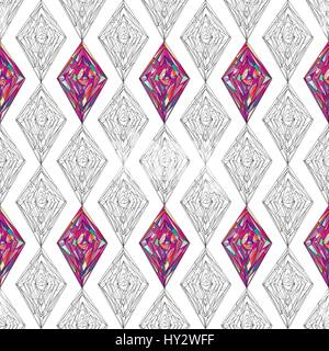 Hand drawn ornament pattern. Vector geometric tracery seamless background. Abstract colorful rhombus texture for - Stock Photo