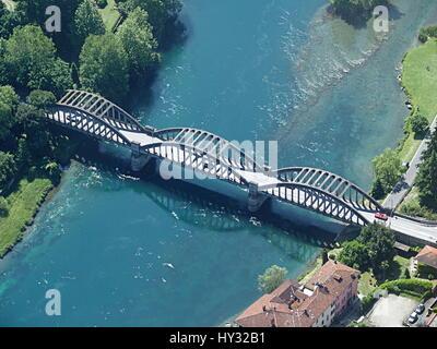 Concrete Arch span bridge over the Adda River in Brivio - Stock Photo