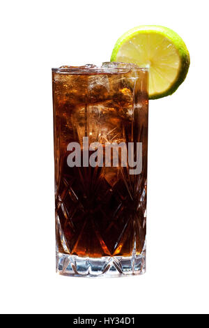 A Cuba Libre - rum, cola and lemon - on a solid white background. - Stock Photo