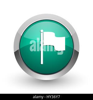 Flag silver metallic chrome web design green round internet icon with shadow on white background. - Stock Photo