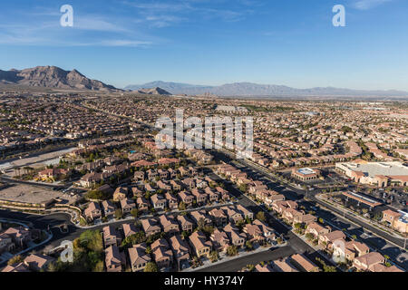 Aerial view of Summerlin suburban community in Las Vegas, Nevada. - Stock Photo