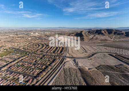 Aerial view of the western edge of Summerlin near Red Rock National Conservation Area in Las Vegas, Nevada. - Stock Photo