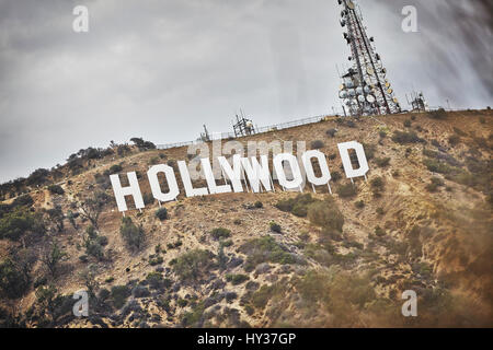 USA, California, Los Angeles, Hollywood, Sign in Hollywood Hills - Stock Photo