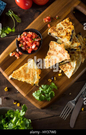 Homemade Chicken and Cheese Quesadilla with Salsa and Cilantro - Stock Photo
