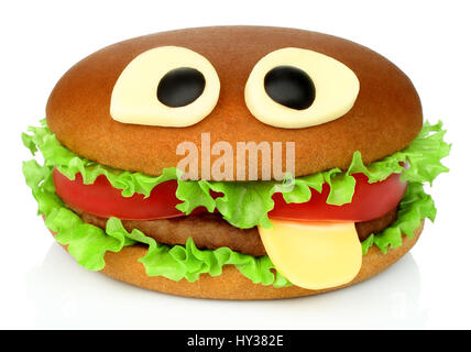 Big funny hamburger whith cheese eyes and beef cutlet on white background - Stock Photo