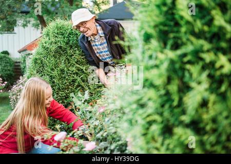 Sweden, Vastmanland, Hallefors, Bergslagen, Grandfather and granddaughter (12-13) working in garden - Stock Photo